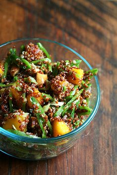 quinoa salad with snap peas, mango, ginger and lime