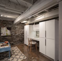 Loft style century stone basement with creative craft area. Basement Renovations, Loft Style, Basements, Creative Crafts, Ottawa, Building Design, Stone, Furniture, Home Decor