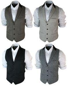 Mens Vintage Tweed Waistcoat Herringbone Brown Cream Black Grey Slim Fit #marcdarcy #joronny
