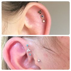 Triple forward helix and triple helix, with a combination of pretty 14k white and rose gold ends by BVLA, and accent gems by Neometal.