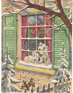 Vintage Christmas Card Wirehair Fox Terrier Dogs at Window Brownie 1946 Dog Vintage Christmas Images, Christmas Scenes, Old Fashioned Christmas, Christmas Past, Retro Christmas, Vintage Holiday, Christmas Pictures, Christmas Greetings, Vintage Images