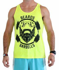 "CrossFit Project X Men's ""Beards and Barbells Pro Model"" Tank - Black on Neon Yellow"