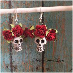 Day of the Dead Sugar Skull Dia de Los Muertos earrings by MischievousCharm on Etsy https://www.etsy.com/listing/248558244/day-of-the-dead-sugar-skull-dia-de-los