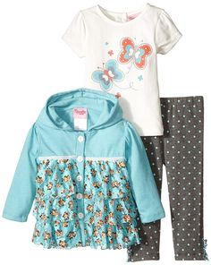 Nannette Baby Girls' 3 Piece Cardigan Tee with Butterfly and Legging Set ^^ Additional details at the pin image, click it  : Baby clothes