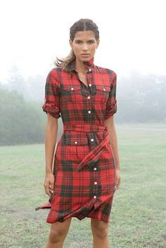 FLANNEL. HOW CUTE FOR FALL. WHY DIDN'T I THINK OF THIS????  : ) Could make a flannel plaid dress like this with the Lisette Traveler Dress sewing pattern, Simplicity 2246
