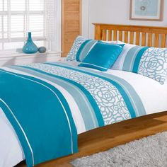 Duvet Cover with Pillow Case Quilt Bedding Set Bed in a Bag Double from Super Single Bed SheetsSuper Single Bed Sheets Teal Bedding Sets, Bedding Sets Online, Bedding Shop, Quilt Bedding, Comforter Sets, Bed Cover Design, Bed Linen Design, Super Single Bed, Backboards For Beds