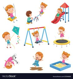 Of little girl playing at park Royalty Free Vector Image Drawing For Kids, Art For Kids, Teacher Cartoon, Paper Crafts Magazine, Special Kids, Cute Clipart, Kids Education, Preschool Activities, Kids And Parenting