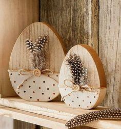 SET OF 2 FEATHER EGG Happy Easter natural brown Easter decoration feathers wooden eggs wooden egg - Ostern Bunny Crafts, Easter Crafts, Egg Crafts, Spring Crafts, Holiday Crafts, Wooden Crafts, Diy And Crafts, Cork Crafts, Diy Osterschmuck