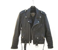 Black Leather Motorcycle Biker jacket by First Genuine Leather Size Mens S/M, Ladies M/L - http://www.gezn.com/black-leather-motorcycle-biker-jacket-by-first-genuine-leather-size-mens-sm-ladies-ml.html