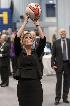 ladymollyparker:  HRH The Countess of Wessex having a go at basketball, 7th November 2013