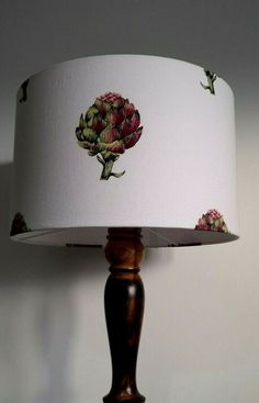 Fuchsia pink green artichoke cream handmade fabric lampshade large drum 40 cm #Handmade #Country Fabric Lampshade, Lampshades, Wall Boxes, Country Style Homes, Pink And Green, Drums, Bubbles, Home Decor, Country Style Houses