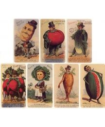 8 Assorted Vintage Vegetable Label Advertisement Stickers