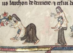 One of the marginal illustrations from a 14th century book in Oxford's Bodleian Library (MS Bodley 264).  It has many hundreds of these marginal cartoons.