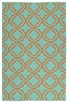 Rosenberry Rooms has everything imaginable for your child's room! Share the news and get $20 Off  your purchase! (*Minimum purchase required.) Brisa Double Quatrefoil Rug in Turquoise and Orange #rosenberryrooms