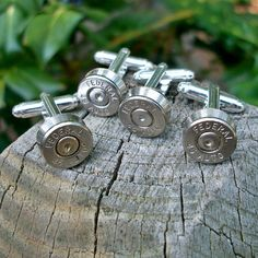 Bullet Shell Cufflinks, Wedding Special 2 matching pairs silver Federal .45 Auto, via Etsy.