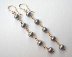Gray Pearl Earrings Dangle Earrings Gold by VeronicaRussekJoyas