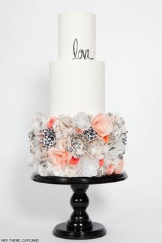 in love with this cake! | Wafer Paper Flower Cake | by Hey There, Cupcake!