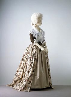 Skirt of printed cotton and a silk bodice Gown  French, ca. 1785      V&A T.232-1969