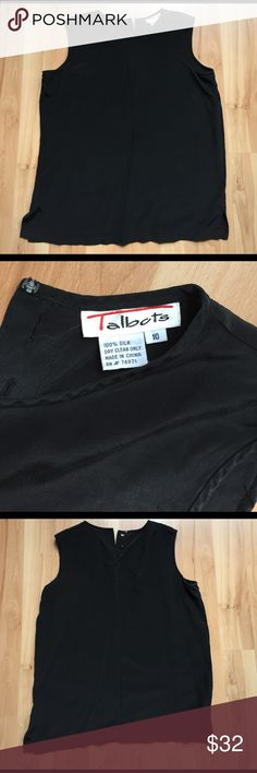 Talbots Silk Blouse Size 10. Sleeveless Blouse with button closure at top of back. 100% Silk. Chest 20.5in. Waist 20.5in. Length 25in. 3in slits at each side. Talbots Tops Blouses