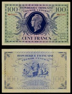 1943 France 100 Francs Banknote Pick Number 105 WWII Issue Tresor Central Very Fine