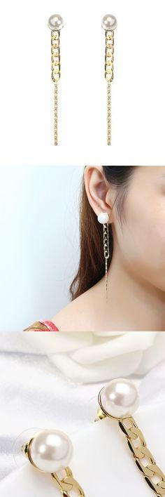 Jassy® 18k gold plated pearl earrings simple chain shape line pendant ear stud gift for women earrings 2017 summer #bamp;w #earrings #cartier #c #earrings #earrings #80s #style #earrings #yellow #gold