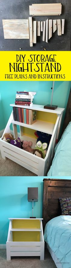 How to build a DIY nightstand with shelving and storage - free plans