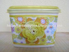 artes by Má: Potinho de margarina reciclado