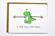 Cute Dinosaur card - T-rex I love you this much, love card, Valentines Day card, Anniversary card. $4.00, via Etsy.
