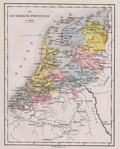 De Geunieerde Provincien in 1610 , een antieke kaart van Nederland door C.L. Brinkman, Amsterdam uit 1881