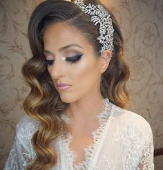 Loving Lauren's vintage glam wedding day look! Her make up, waves and crystal head piece are gorgeous!