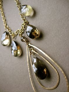Lemon and gold rain drops by noracatherine on Etsy, $99.00