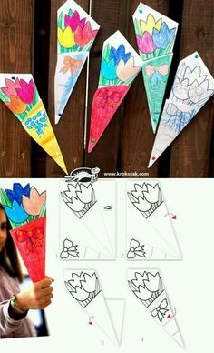 Paper BOUQUET for Mother's Day - such a cute idea! Let your kids create one bouquet, then send another one to your sponsored child to color for his/her m Mothers Day Crafts For Kids, Fathers Day Crafts, Mothers Day Cards, Mother Day Gifts, Spring Crafts, Holiday Crafts, Origami, Mother's Day Activities, Children Activities