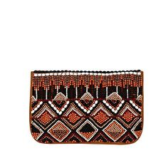 Beige leather aztec embellished clutch bag - leather bags - bags / purses - women