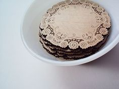 doily coasters for tea lover or coffee lover by uncommon on Etsy, $19.00