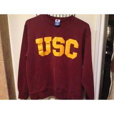 VTG USC crewneck fleece sweatshirt SUPER CUTE AND UNIQUE Go Trojans vintage 80's 90's USC University of Southern California oxblood red yellow gold logo graphic sweatshirt men women unisex crew neck fleece pullover puffy print   Youth extra large. Will fit women's M or S (oversized)   condition: very good worn-in vintage condition,cracking/distressed puffy print no holes no tears no stains Urban Outfitters Sweaters Crew & Scoop Necks