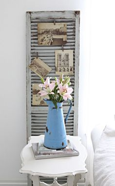 just foudn some old shutters that someone put out at the dump....I love this idea for them