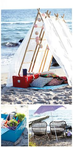 Camping over night on the beach is one thing we will never do again, but this is a cute set up for the day and late night ((: