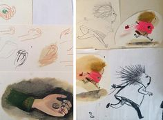 Development work for 'Le Merveilleux Dodu-Velu-Petit' (The Wonderful Fluffy Little Squishy) by Beatrice Alemagna