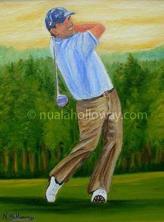"""""""Portrait of Padraig Harrington"""" by Nuala Holloway - Oil on Canvas #Golf #PadraigHarrington #IrishArt #Art"""