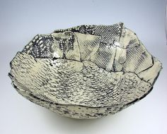 Large Stamped Stoneware Bowl / Handmade Clay by PatsPottery