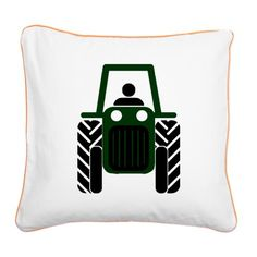 Green Tractor Square Canvas Pillow