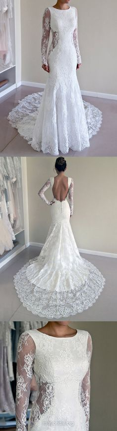 Long Sleeve Wedding Dresses Backless, Mermaid Bridal Dresses Lace, 2018 Wedding Dress Beach Modest Backless Dresses, dress, clothe, women's fashion, outfit inspiration, pretty clothes, shoes, bags and accessories