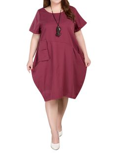 6ba4ce9121efb Pocket Vintage Linen Cotton Solid Color Short Sleeve Women Shirt Dress Plus  Size Vintage Dresses