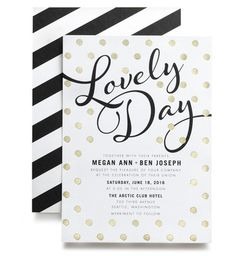 Unbelievably Awesome Polka Dot Wedding Invitations: Gold foil stamped dots modern wedding invitations by Magnolia Press