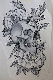 skull tattoo Tattoo Heart Dagger Skulls 64 Ideas For 2019 Skull Rose Tattoos, Body Art Tattoos, Sleeve Tattoos, Leg Tattoos, Stencils Tatuagem, Tattoo Stencils, Tattoo Sketches, Tattoo Drawings, Tattoo Ink