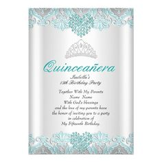 Quinceanera Party Teal Blue Hearts Lace Tiara Card