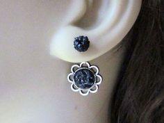 Flower Double Sided Earrings Front Back Earrings Ear by AimeezArtz