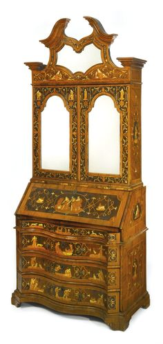 A North Italian Baroque Ivory Inlaid Walnut, Rosewood And Marquetry Bureau  Cabinet Veneto,