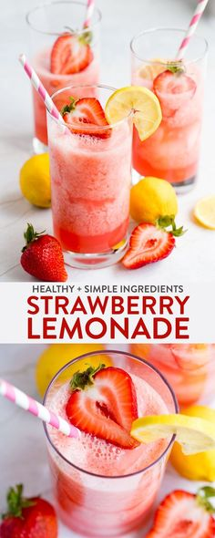 Kids Meals This homemade strawberry lemonade recipe takes seconds to prepare and is a healthy, wholesome, and easy way to enjoy a summer drink. Whether it's a healthy drink for kids or a detox mocktail for mom, this non-alcoholic drink is for everyone. Healthy Lemonade, Homemade Strawberry Lemonade, Healthy Drinks For Kids, Healthy Snacks, Healthy Recipes, Healthy Detox, Easy Detox, Detox Recipes, Vitamix Recipes