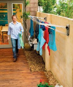 Hills Supa Fold Compact Folding Frame Washing Line – Pebble Beach Beige-NEW Laundry Rack, Laundry Drying, Wall Mounted Washing Line, Laundry Lines, Clothes Drying Racks, Hanging Clothes, Clothes Dryer, Laundry Room Inspiration, Earthship